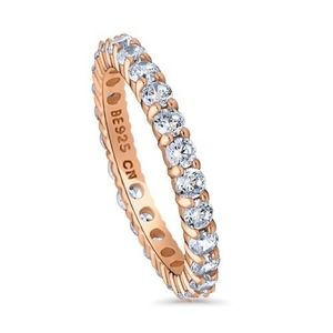 Rose Gold Plated CZ Eternity Band .925 Sterling